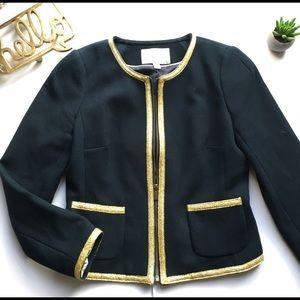 Banana Republic navy zip up blazer with gold trim